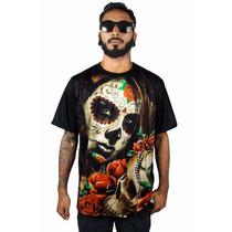 Camiseta Camisa Chicano Lowrider Catrina Skull Swag Hip Hop