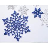 Copos De Nieve 9,5cms Frozen Goma Eva Con Brillantina X 20