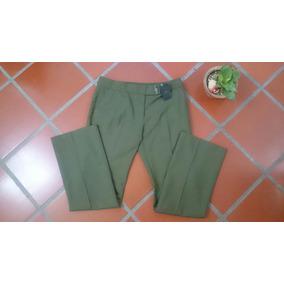 Pantalón Clasico Tipo Lino Color Verde Para Dama L / Xl