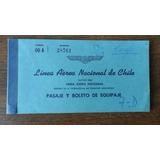 Antiguo Pasaje De Avion De Aerolineas Lan-chile 1957