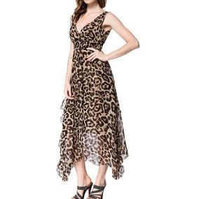 Vestido Largo Chifon Animal Print