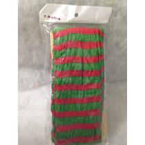 8 Mallas Delgadas Nylon Rayada Rojo Con Verde Niña 4/6