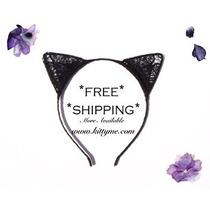Disfraz Gato Negro Del Cordón De La Venda De Los Oídos