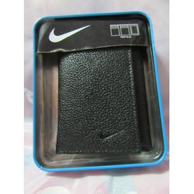 Billetera Negra Cuero Genuino Nike Original Nueva