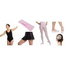 Kit Roupas Uniforme Figurino De Ballet Infantil 6 Peças
