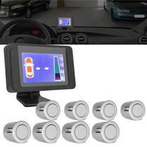 Sensor De Estacionamento Ré Prata 8 Pontos C/ Display Lcd