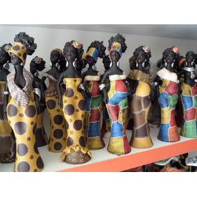 Boneca Negra Feita De Barro. Altura 32 Cm Frete Grátis