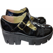 Zapatos De Dama Guillerminas Con Taco Evasé Charol Nuevas