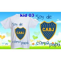 Remeras Boca Juniors Futbol Personalizada Nombre Para Niños