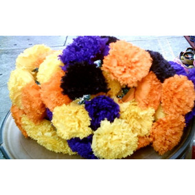 100 Flores Cempasuchitl Moradas Crepe Dia Muertos Ofrenda