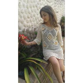 Vestido Camisola Remerón Con Mangas Playa Crochet Hilo Mujer