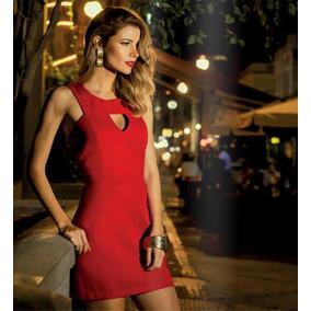 Vestido Curto De Sarja Tubinho Vermelho Vazado Promoção