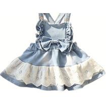 Vestido Infantil Menina Jardineira Jeans Barra Lese Bordada