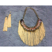 Set Collar Y Aretes De Flecos Hippie Chic