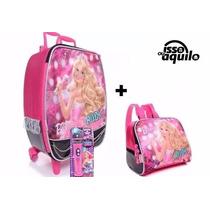 Kit Mala Infantil Mochila Rodinhas Barbie Rock + Lancheira