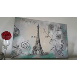 Cuadro Torre Eifel Oleo Vintage Romantico Paris
