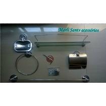 Kit 6 Pçs Luxo Inox Acessórios P/banheiro Inox +frete Grátis