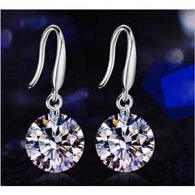 Lindo Brinco Feminino Prata 925 Com Diamante Cz Frete 9,99
