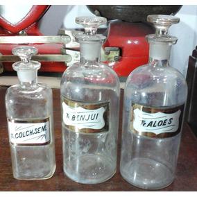 Lote De 3 Antiguas Botellas De Farmacia Con Tapon De Vidrio