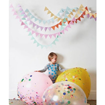 Pack 3 Globos Piñata Gigantes 2 Opacos Y 1con Confetti 60cm