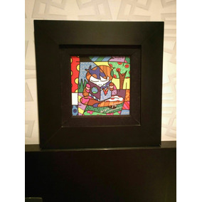 Quadro Original Pintura Romero Britto Journe +certificado