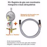 Vávula De Gas + Medidor + Mangueira Malha Aço Inox 4 Metros