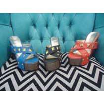 Sandalia Plataforma Mujer Zueco Taco Chino Tachas