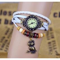 Kit 2 Relógio De Pulso Vintage Feminino Em Couro R$ 27,00