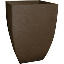 Vaso Quadrado Moderno Japi Cores Café / Cimento 55cm Jvqmk36