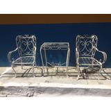 Conjunto De Varanda Antigo De Ferro 2 Cadeiras + 1 Mesa