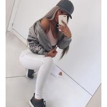 Pantalón Jeans De Mujer Chupin Tiro Alto Con Rotura