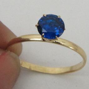 Anel De Ouro 18k Rpw 1209 Safira Azul