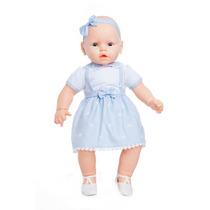 Boneca Meu Bebê Chupeta Vestido Azul Grande 50 Cm Estrela