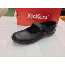 Zapatos Kickers 100% Cuero Colegial Cocidos De Niñas 2016