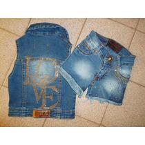Chalecos De Jeans Con Diseños. Nenas T Del 4 Al 14