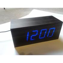 Reloj Despertador Fecha Led Madera Minimalista Eliminador