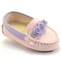 Sapatinho Mocassim Feminino Bebê Rosa Lilás Milpé