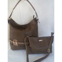 Bolsa Feminina Couro Kit Com 2 Bolsas Grande E Pequena