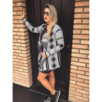 Kimono Étnico Casaco Trico Tricot Lã Blogueira Tendencia