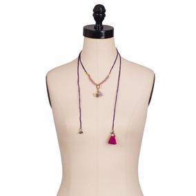 Collar De Piedras Semipreciosas Y Dije De Bronce Mariposa