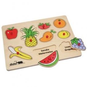 4015-a Rompecabezas Bilingüe De Madera Frutas 9 Piezas Diako