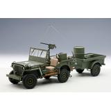 Jeep Willys Mb Minguerra Militar Con Remolque Autoart 1/18