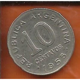 Moeda Argentina 10 Centavos Peso Ano 1955 19mm