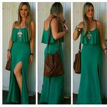 Vestido Longo Com Fenda E Babado Com Bojo Fica Maravilhoso