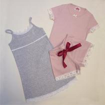 Promo 2 Pijamas Y/o Camisones Nena Algodon Y Encaje Calidad