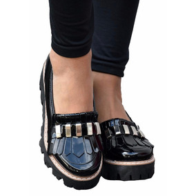 Mocasin Con Tachas Plataforma Baja Tipo Zapatos Envio Gratis