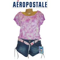 Playera L Aeropostale Grande Lila Difuminada 100% Original!!