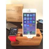 Base De Carga Iphone Apple Watch Estilo Bambú