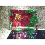 Bandeja De Vidrio Flor De Navidad (44 X 32 Cm) (006)