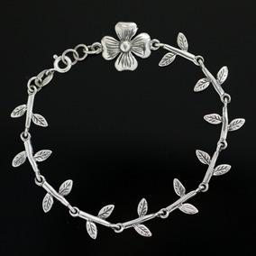 Pulseira Bracelete Feminino Flor Em Prata 925 Trabalhada